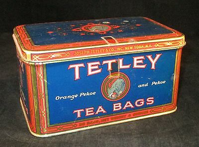 Vintage Tetley Tea Bags Tin Box - Held 36 Bags of Orange Pekoe & Pekoe Tea