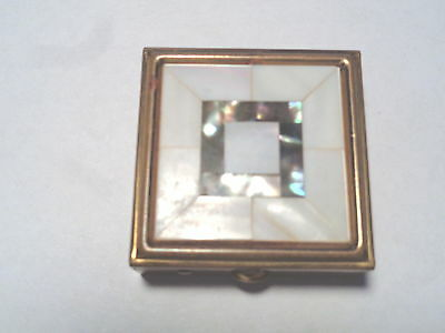 Vintage Brass & Mother of Pearl Divided Pill Box