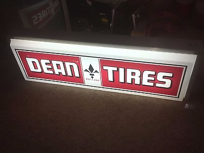 Double Sided Lighted Dean Tires Sign Garage Sale Find Unknown History Fast Ship