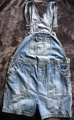 Motherhood Maternity Short Denim Jean Bib Overalls Romper Shorts Size Medium