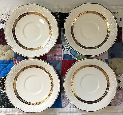 Antique Limoges China Co. Etched Gold Ivory Saucer Plates Set Of 4