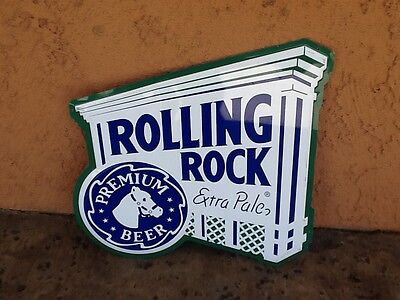 Rolling Rock Extra Pale Premium Beer Lithographed and Embossed Tin Pub Sign