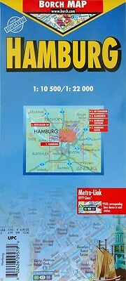 NEW~2006 MAP of HAMBURG, Germany, Borch~Index & Details of Rapid Transit, Rails