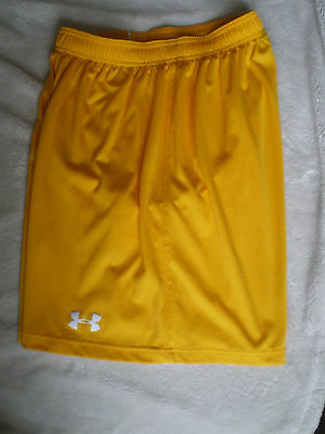 Under Armour Boys  Athletic Shorts size Small Gold & White  EUC