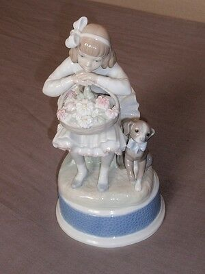 "Lladro Figurine 01001088 ""Girl with Flowers"" Issued 1970 Retired 1990 Excellent"