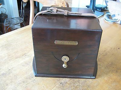 Rare African Mahogany Hamilton 21 Marine Ship Chronometer Clock Outer Box Case