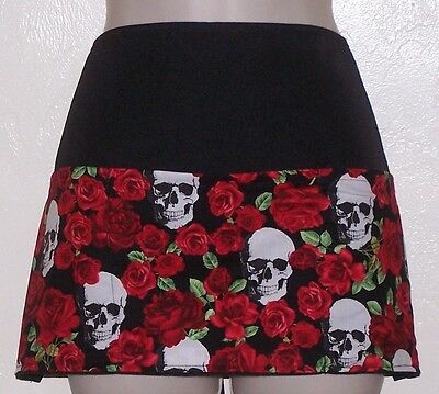 Black reversible Skull & Roses new waitress server waiter waist apron 3 pockets
