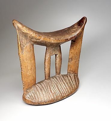 Vintage Carved Wood Headrest Ethiopia Traditional African Tribal Art
