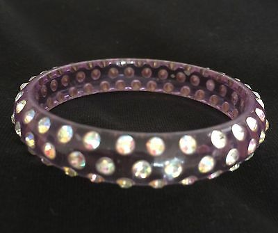 Child's purple resin bangle with crystals 5 cm width
