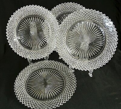 "4-Hocking Depression Glass Miss America English Hobnail Crystal 8 1/2"" Plates"