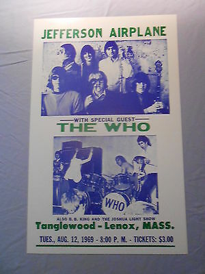 "JEFFERSON AIRPLANE THE WHO B.B. KING MASSACHUSETTS 1969 CONCERT POSTER 14"" x 22"