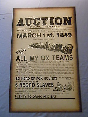 "SLAVE AUCTION 1849 KENTUCKY POSTER BLACK AMERICANA 14"" x 22"""