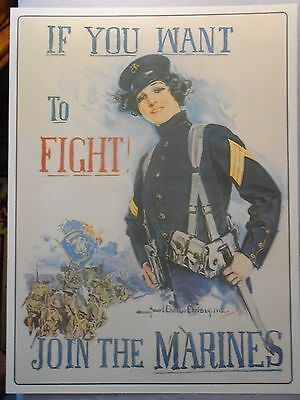 "UNITED STATES MARINE CORPS RECRUITING LADY ADVERTISEMENT POSTER 18"" x 24"""
