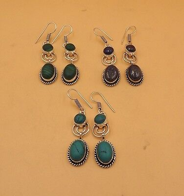 Turquoise & Multi Stone 3Pcs. Lot 925 Silver Plated Attractive Earring KA4796