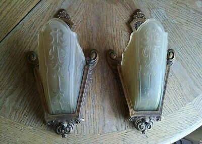 Pair Antique Wall Sconces / Glass Slip Shades Light Fixture Set Art Deco Ornate!