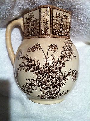 "Aesthetic Movement G.W. Turner & Sons Transferware ""Beatrice"" Pitcher!"