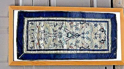 ANTIQUE 19c CHINESE SILK EMBROIDERY PANEL WITH A CRANES,BUTTERFLIES&FLOWERS .
