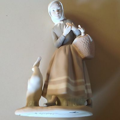 Vintage Lladro Girl With Ducks & Basket Figurine Hand Signed Spanish Perfect!