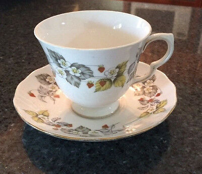 VINTAGE Royal Vale 'Wild Strawberry' Tea Cup and Saucer Plate Duo