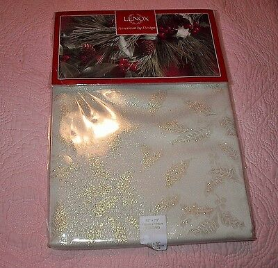 Lenox Christmas Holly Shimmer Oblong Tablecloth-New-52X70 Inches