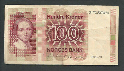 Norway 1993 100 Kroner P 43d Circulated