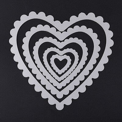 5pcs/set Heart Stencil Cutting Dies Scrapbooking Album Paper Card Embossing DIY