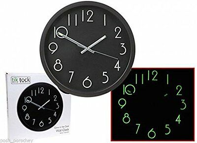 Large 25cm Black Glow In The Dark Disability Wall High Visibility Kitchen Clock