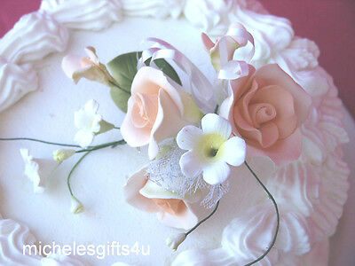 Gum Paste Sugar Peach Roses Stephanotis Sugar Cake Flowers & Leaves