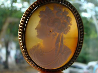Antique 12ct Gold Cameo with the last german empress Augusta Victoria