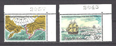 NORFOLK ISLAND , 1978 , COOK'S TRAVELS ,  SET OF 2 W/PLATE #'s ,  PERF,  MNH