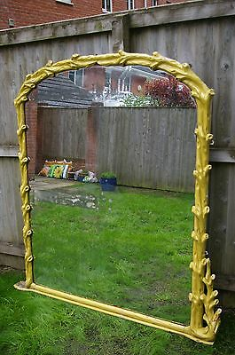 Very Large Distressed Victorian Mirror With Wooden / Plaster Coated Frame