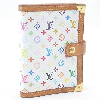 Auth  Louis Vuitton Multicolor Agenda PM Day Planner Cover White R20896 #SS893 +