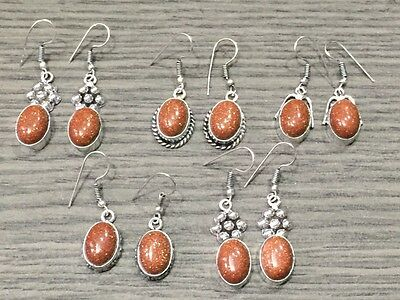 Wholesale Lot 5 pcs Red Sun Stone.925 Sterling Silver Plated Earring 40 Gms