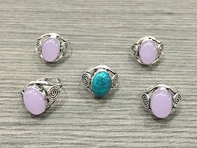 WHOLESALE LOT 5pcs ROSE QUARTZ &TURQUOISE STONE.925 STERLING SILVER OVERLAY RING