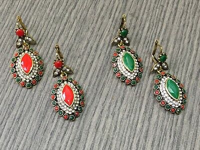2pcs LOT Adorable RUBY& EMERALD 925 Silver Plated TURKISH VICTORIAN EARRING
