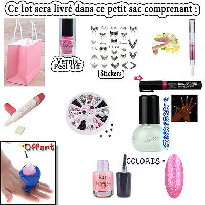 Lot Manucure Neuf, Vernis Peel Off,Stickers,Stylo Nail Art,Soin... + Kdo