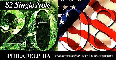 2008 Bep Usa $2 Folder Series 2003A - 'c' Philadelphia - C 20082908D