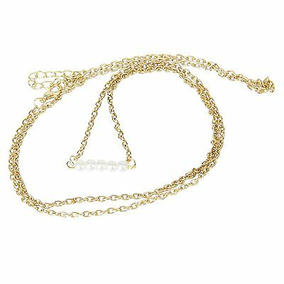 Gold Pearl artificial belly charm belly Bikini size lower body link chain K2H9
