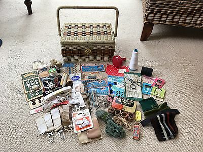 1960s WICKER Plastic SEWING BASKET Box with CONTENTS