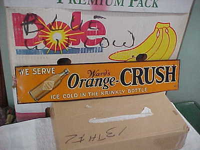 Antique Ward's Orange Crush Embossed Tin Sign Ice Cold Krinkly Bottle