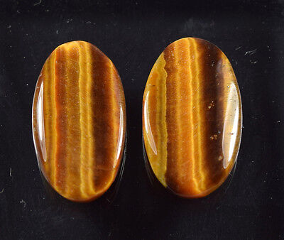 18.45  Cts. 100 % Natural Pair Of Tiger Eye Oval Cab Untreated Loose Gems