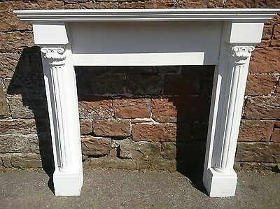 WOODEN FIRE SURROUND 4 Piece Mantelpiece Painted Column Design Decorative White