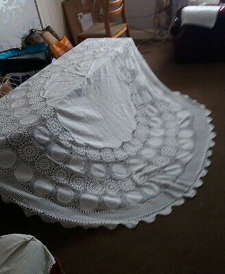 Vintage beautiful large white hand crocheted cotton lace table cloth