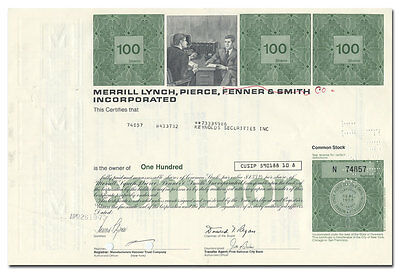 Merrill Lynch, Pierce, Fenner & Smith Incorporated Stock Certificate