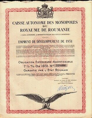 KINGDOM OF ROUMANIA GOVERNMENT GOLD BOND 7.5% 1931 with uncancelled coupons