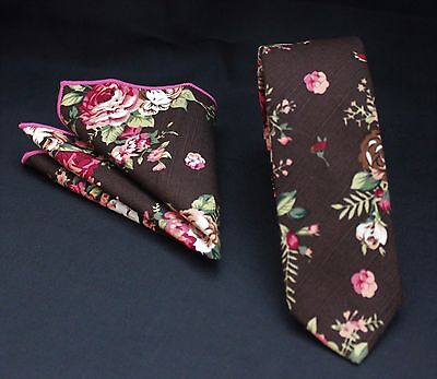 Tie Neck tie with Handkerchief Slim Dark Brown with Floral Quality Cotton MTB04