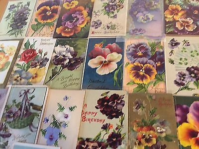 Nice~LOT of 25 Victorian PANSYS~Flowers floral greetings Postcards-Pansies -e-1