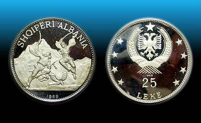 "Albania 1969 - 25 Leke ""Dance with swords"" 83.33 g. 0.999 Silver 2.6592 oz.60 mm"