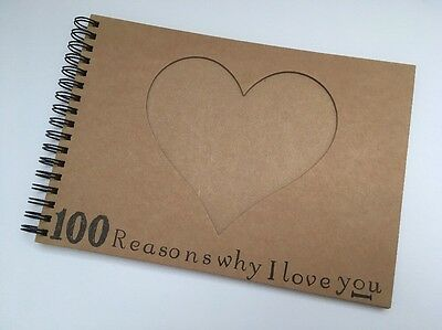 A5 100 Reasons Why I Love You Boyfriend Scrapbook Album Anniversary Love Gift