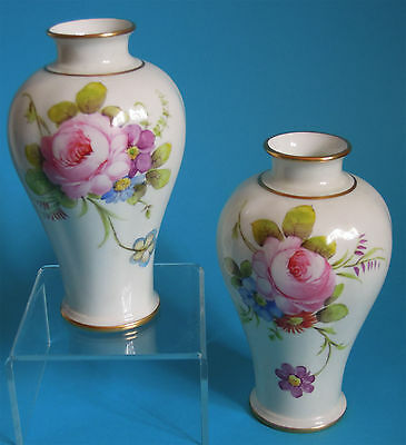 Lovely Pair Of Royal Crown Derby Hand Painted Vases